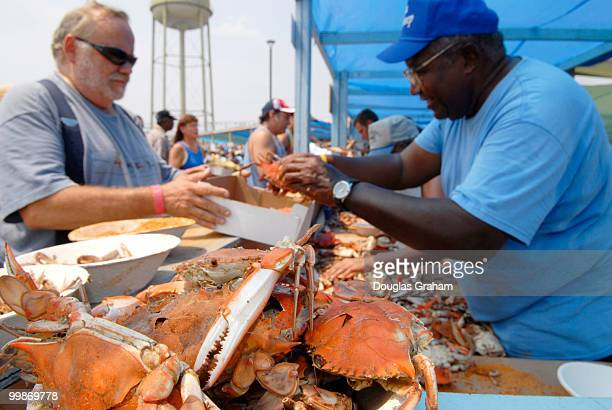 Bluecrabs and beer where the big food items during the 30th annual J Millard Tawes Crab and Clam Bake in Crisfield Maryland