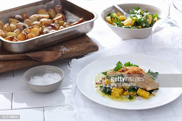 Blue-eye trevalla with corn and parsley
