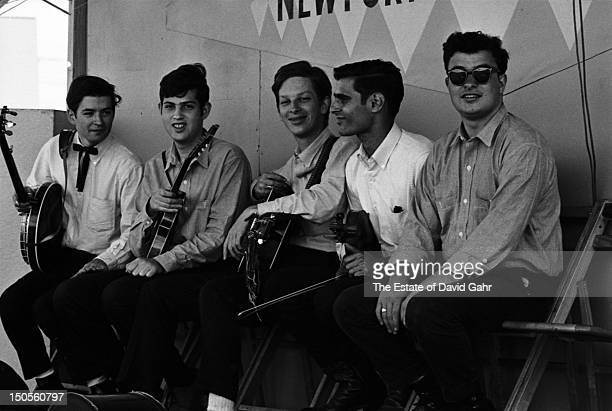 Bluegrass group The New York Ramblers backstage before performing at the Newport Folk Festival in July 1964 in Newport Rhode Island