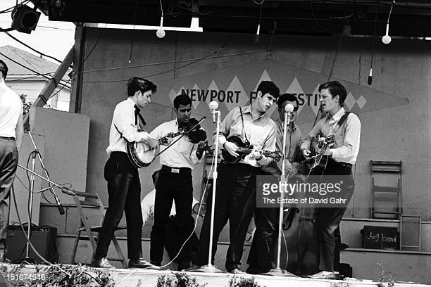 Bluegrass group The New York Ramblers perform at the Newport Folk Festival in July 1964 in Newport Rhode Island