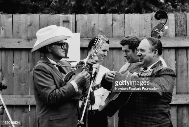Bluegrass legends perform at a bluegrass workshop at the Newport Folk Festival in July 1969 in Newport Rhode Island