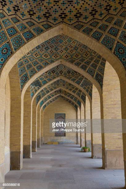Blue-Mosaic-on-the-Arches-of-Nasir Al Molk Mosque, Shiraz, Fars Province, Iran