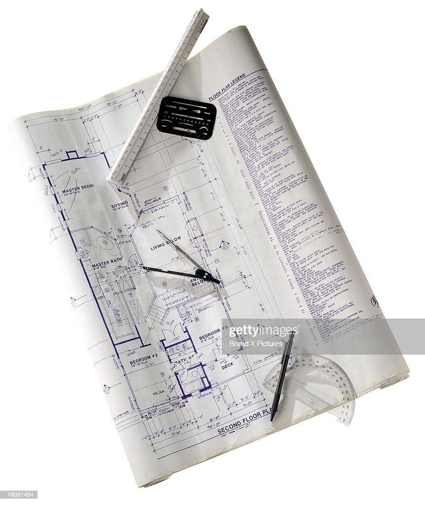 Blueprint and drafting tools : Stock Photo