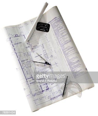 Blueprint and drafting tools : Foto de stock