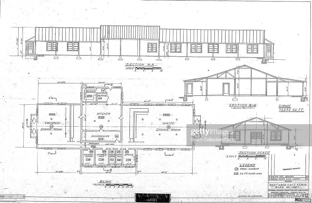 Blueprint For NASA NACAs West Area Cafeteria At The Langley Research Center Showing A