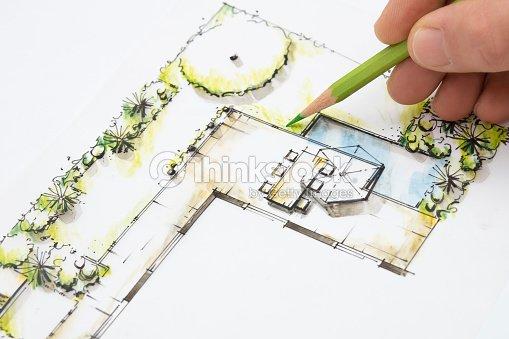 Conception de jardin plan darchitecte dessiner photo for Dessiner plan jardin