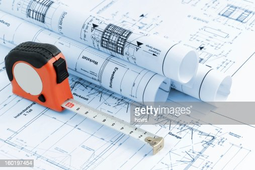Blueprint plan of house building with tape measure stock for Blueprint of a house with measurements