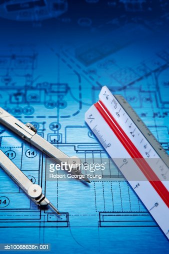 Blueprint scale ruler and drawing compass stock photo for Blueprint scale
