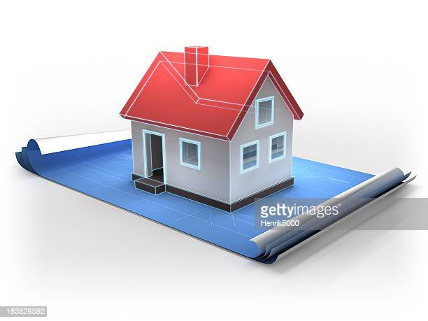 Blueprint with 3d home - isolated / clipping path included