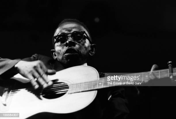 Blues and gospel musician Willie B Thomas performs at the Newport Folk Festival in June 1960 in Newport Rhode Island