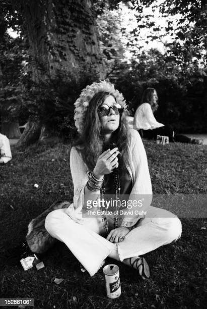 Blues and rock singer and performer Janis Joplin poses for a portrait before a performance at the Newport Folk Festival in July 1968 in Newport Rhode...
