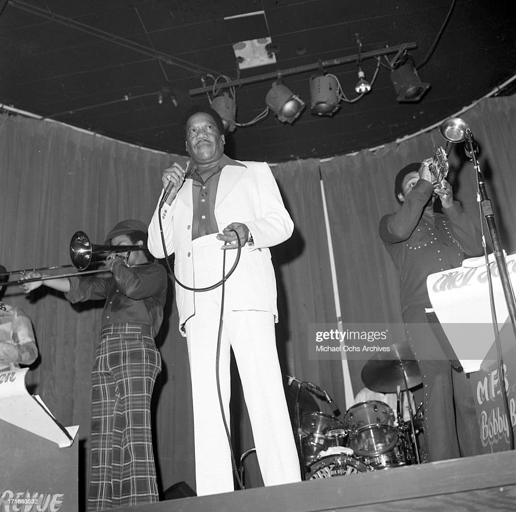 Blues and soul singer Bobby 'Blue' Bland performs onstage at the WhiskyAGoGo on January 4 1974 in Los Angeles California