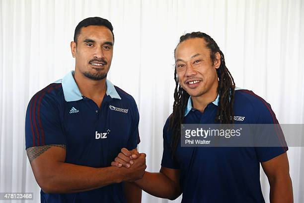 Blues captain Jerome Kaino welcomes Tana Umaga as the Blues Head Coach during a Blues Super Rugby press conference at Alexandra Park on June 23 2015...