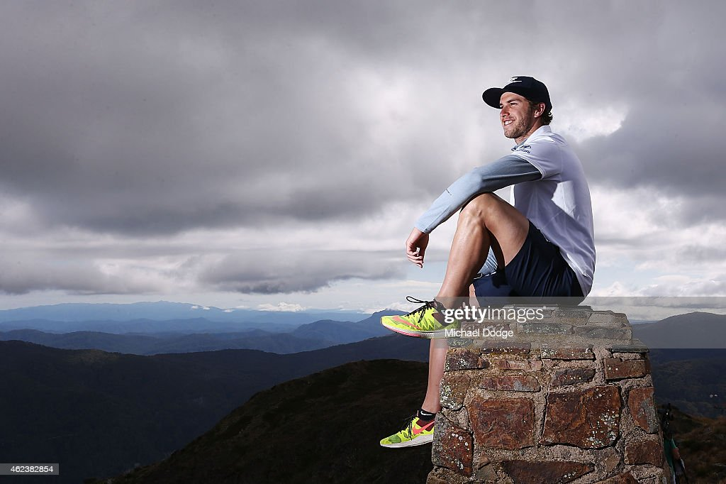 Blues captain Marc Murphy poses on the summit of Mount Buller during the Carlton Blues AFL training camp on January 28, 2015 in Mount Buller, Australia.