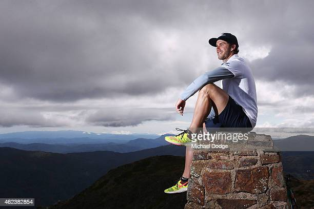 Blues captain Marc Murphy poses on the summit of Mount Buller during the Carlton Blues AFL training camp on January 28 2015 in Mount Buller Australia