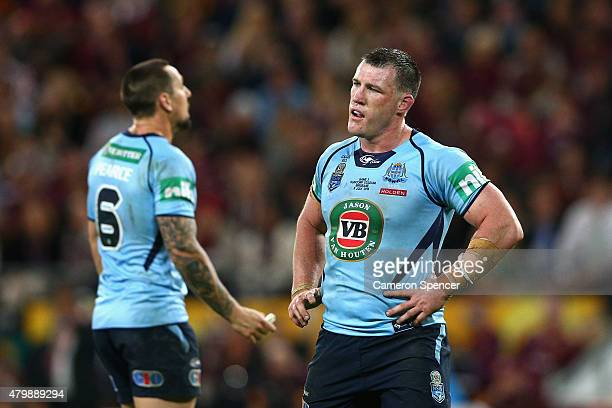 Blues captain Paul Gallen looks dejected during game three of the State of Origin series between the Queensland Maroons and the New South Wales Blues...