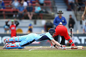 Blues captain Steve Smith avoids a runout during the Matador BBQs One Day Cup final match between New South Wales and South Australia at North Sydney...