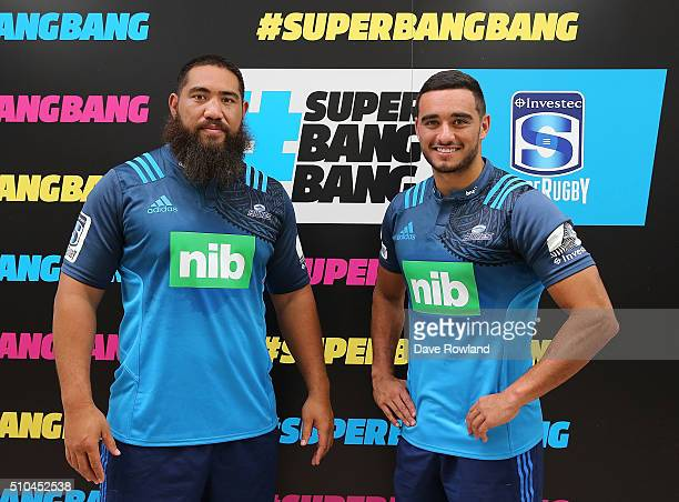 Blues Charlie Faumuina and Bryn Hall during the 2016 New Zealand Super Rugby Launch on February 16 2016 in Auckland New Zealand
