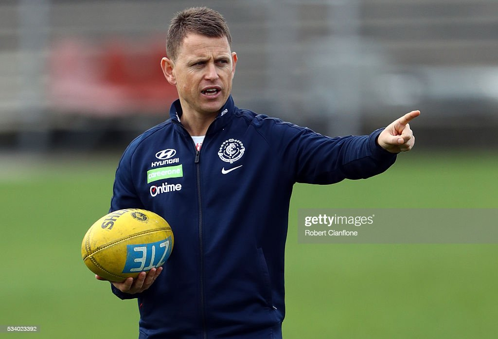 Blues coach Brendon Bolton gestures during a Carlton Blues AFL training session at Ikon Park on May 25, 2016 in Melbourne, Australia.