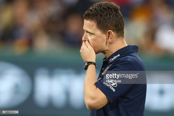 Blues coach Brendon Bolton looks on during the round 18 AFL match between the Brisbane Lions and the Carlton Blues at The Gabba on July 23 2017 in...