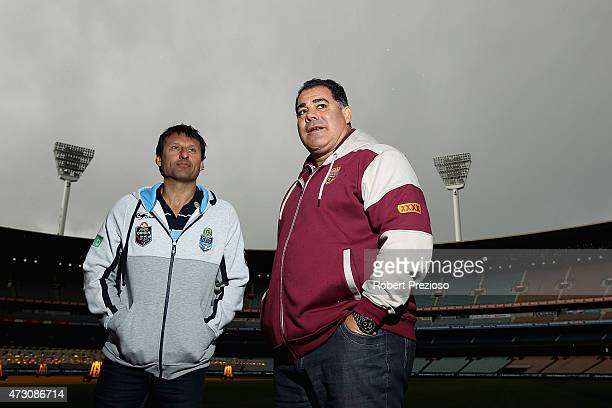 NSW blues coach Laurie Daley and Queensland maroons coach Mal Meninga pose for photos during a State of Origin media opportunity at Melbourne Cricket...