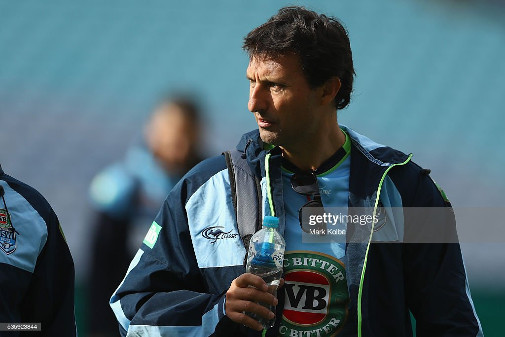 Blues coach <a gi-track='captionPersonalityLinkClicked' href=/galleries/search?phrase=Laurie+Daley&family=editorial&specificpeople=566873 ng-click='$event.stopPropagation()'>Laurie Daley</a> arrives for the New South Wales State of Origin captain's run at ANZ Stadium on May 31, 2016 in Sydney, Australia.