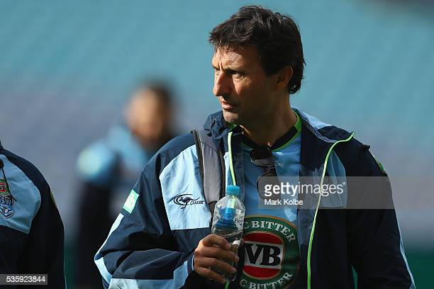 Blues coach Laurie Daley arrives for the New South Wales State of Origin captain's run at ANZ Stadium on May 31 2016 in Sydney Australia