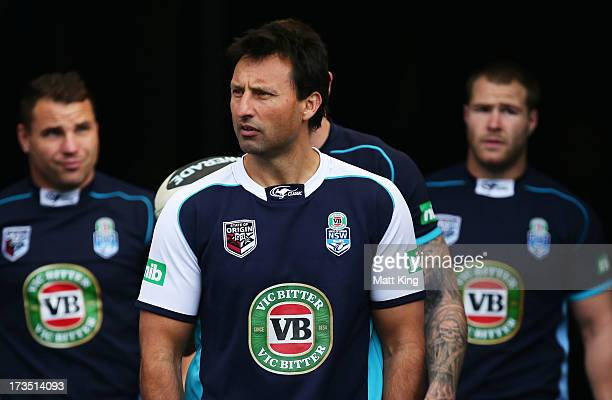 Blues coach Laurie Daley leads the team out during a New South Wales Blues State of Origin training session at ANZ Stadium on July 16 2013 in Sydney...