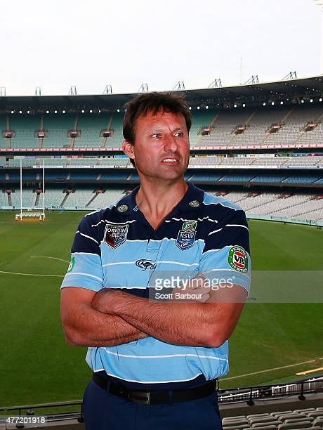 Blues coach Laurie Daley looks on before game two of the State of Origin series between the New South Wales Blues and the Queensland Maroons at the...