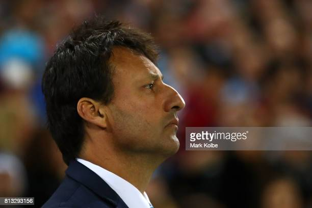 Blues coach Laurie Daley looks on during game three of the State Of Origin series between the Queensland Maroons and the New South Wales Blues at...