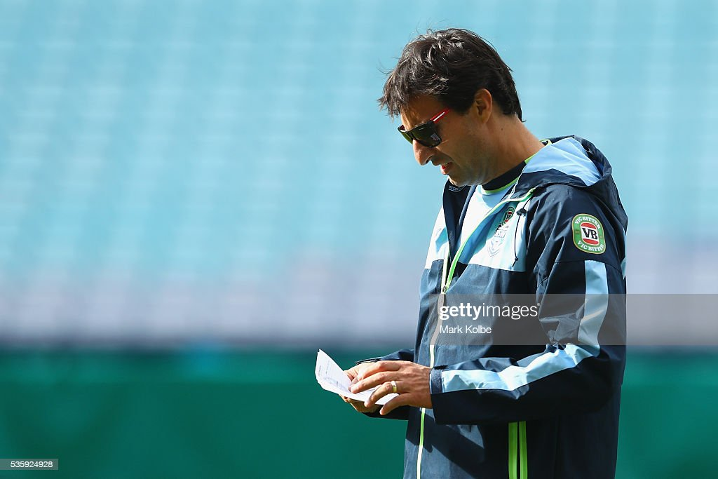 Blues coach <a gi-track='captionPersonalityLinkClicked' href=/galleries/search?phrase=Laurie+Daley&family=editorial&specificpeople=566873 ng-click='$event.stopPropagation()'>Laurie Daley</a> reads his notes during the New South Wales State of Origin captain's run at ANZ Stadium on May 31, 2016 in Sydney, Australia.