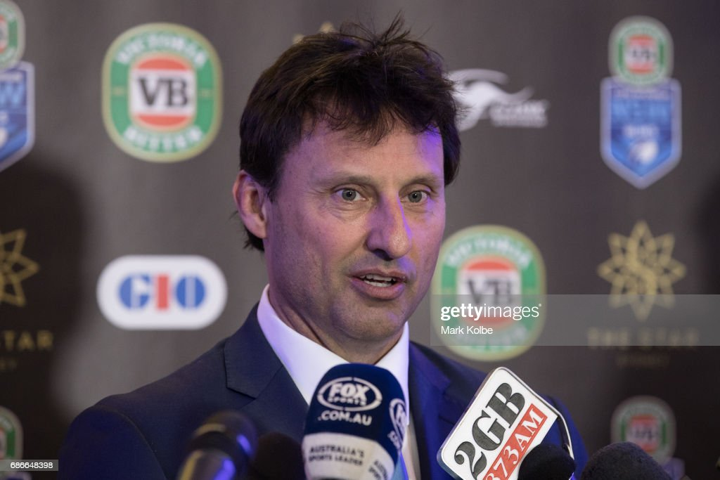 Blues coach Laurie Daley speaks to the media after his announcement as the Blues captain during the New South Wales State of Origin team announcement at The Star on May 22, 2017 in Sydney, Australia.