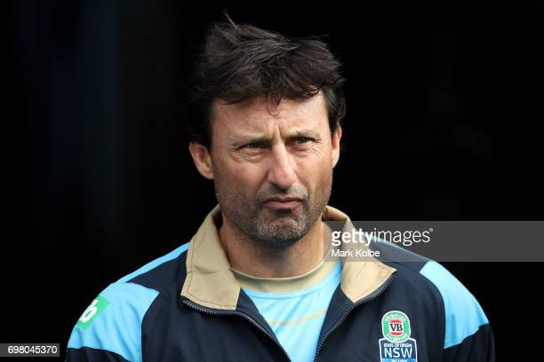 Blues coach Laurie Daley walks out onto the field during a New South Wales Blues State of Origin captain's run at ANZ Stadium on June 20 2017 in...