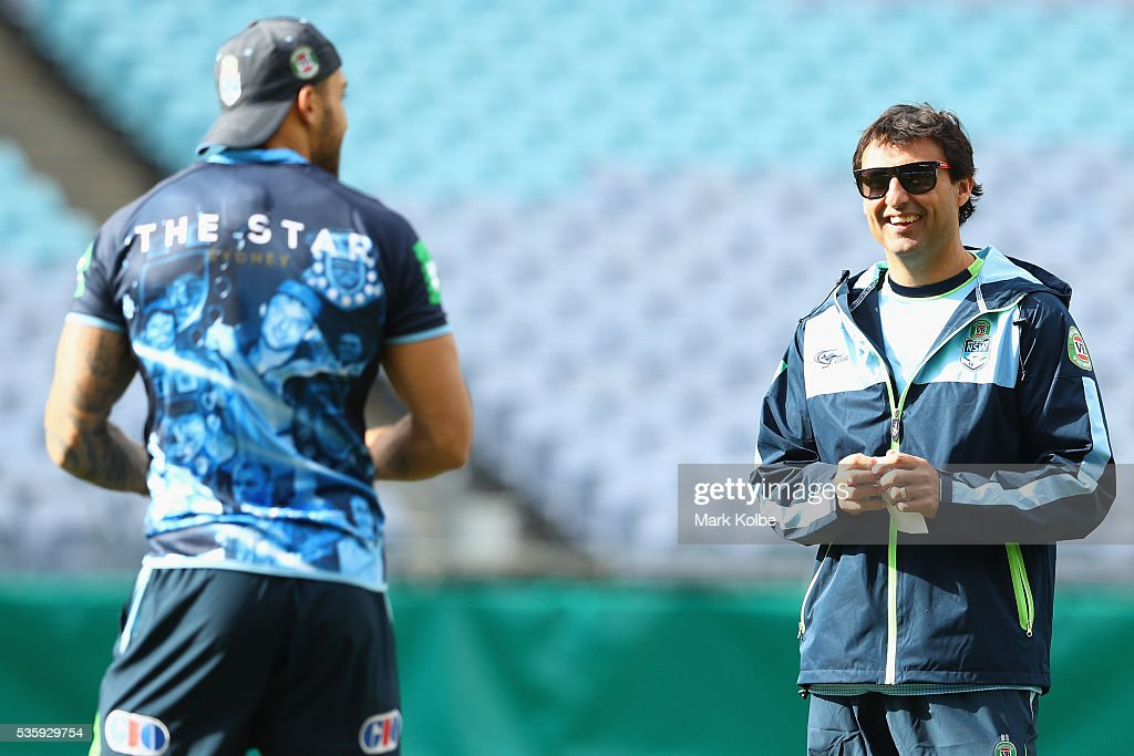 Blues coach <a gi-track='captionPersonalityLinkClicked' href=/galleries/search?phrase=Laurie+Daley&family=editorial&specificpeople=566873 ng-click='$event.stopPropagation()'>Laurie Daley</a> watches on during the New South Wales State of Origin captain's run at ANZ Stadium on May 31, 2016 in Sydney, Australia.