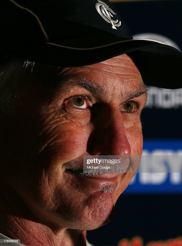 Blues coach <a gi-track='captionPersonalityLinkClicked' href=/galleries/search?phrase=Michael+Malthouse&family=editorial&specificpeople=217321 ng-click='$event.stopPropagation()'>Michael Malthouse</a> reacts while speaking to the media after a Carlton Blues AFL training session at Visy Park on August 30, 2013 in Melbourne, Australia.
