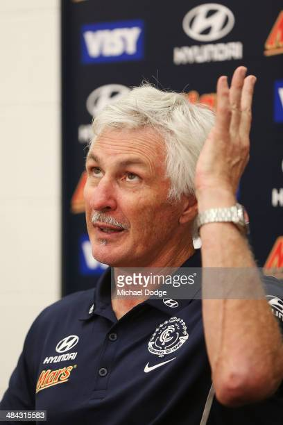 Blues coach Michael Malthouse speaks to the media at his post match media session after the round four AFL match between the Carlton Blues and the...