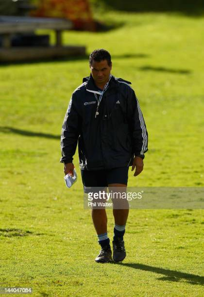 Blues coach Pat Lam arrives for an Auckland Blues Super Rugby training session at Unitec on May 9 2012 in Auckland New Zealand