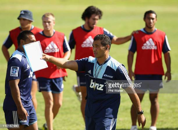 Blues coach Pat Lam directs play during an Auckland Blues Super Rugby training session at Unitec on March 16 2011 in Auckland New Zealand