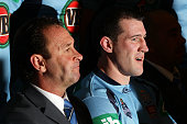Blues coach Ricky Stuart and Paul Gallen pose during a New South Wales Blues state of origin team photo session at Crown Plaza Coogee on June 5 2012...
