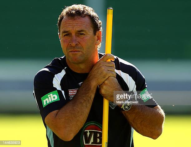 Blues coach Ricky Stuart keeps an eye on his players during a New South Wales Blues State of Origin training session at AAMI Park on May 17 2012 in...