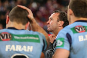 Blues coach Ricky Stuart looks dejected after losing game three of the 2012 State of Origin series between the Queensland Maroons and the New South...