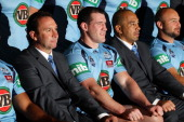 Blues coach Ricky Stuart Paul Gallen assistant coach Jim Dymock and Glenn Stewart pose during a New South Wales Blues state of origin team photo...