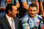 Blues coach Ricky Stuart talks to Robbie Farah during the New South Wales Blues State of Origin team photo at Crown Plaza Coogee on June 26 2012 in...