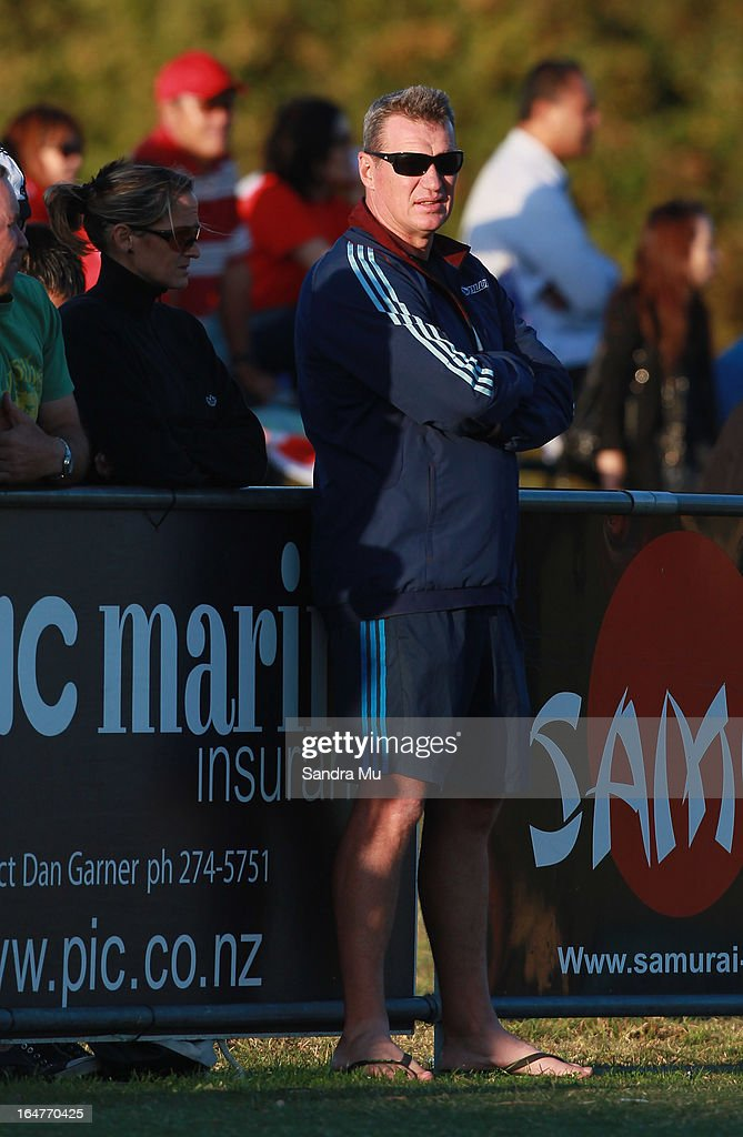 Blues Coach Sir John Kirwan watches from the sidelines during the Pacific Rugby Cup match between the Blues Development and Junior Japan at Bell Park on March 28, 2013 in Auckland, New Zealand.