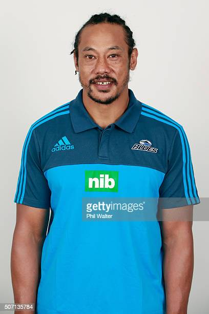 Blues coach Tana Umaga during the Auckland Blues 2016 Super Rugby headshots session on January 27 2016 in Auckland New Zealand
