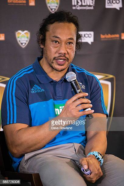Blues coach Tana Umaga speaks to the media during the Rugby 10's Launch at Spencer on Byron Hotel on August 4 2016 in Auckland New Zealand The event...