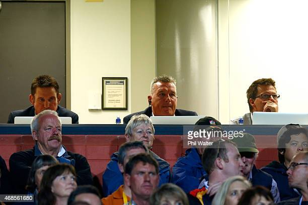 Blues coaching staff Glenn Moore Sir John Kirwan and Grant Doorey during the round eight Super Rugby match between the Chiefs and the Bulls at...