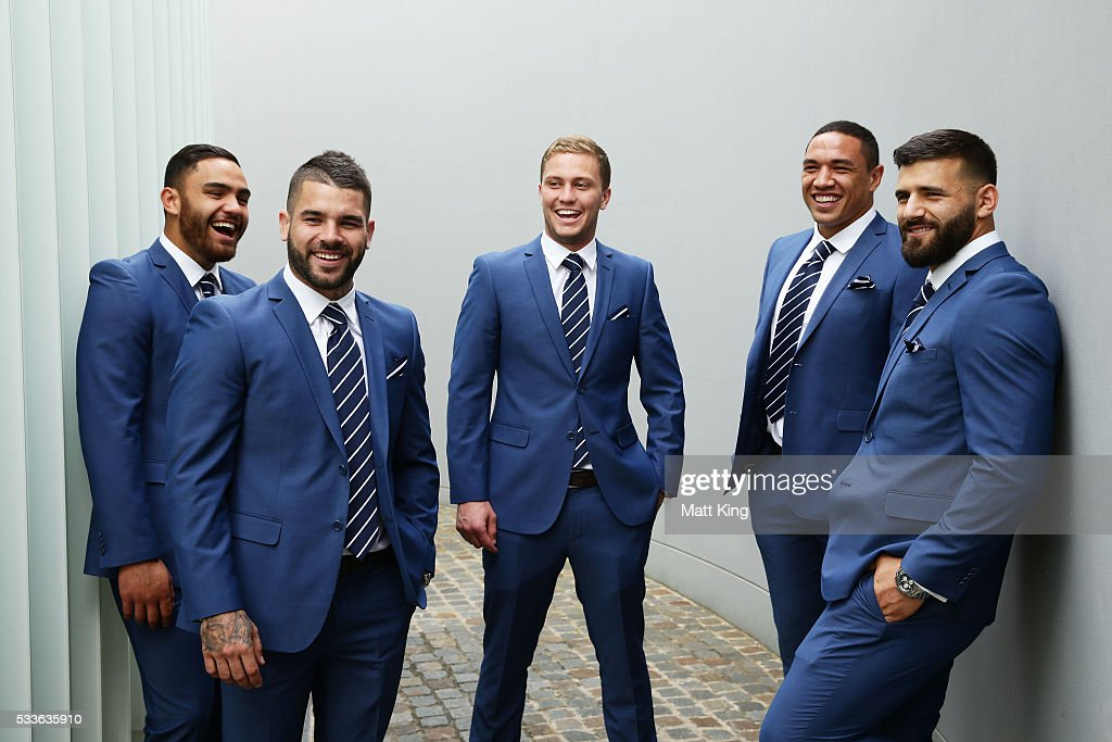 NSW Blues debutants Dylan Walker, Adam Reynolds, Matt Moylan, Tyson Frizell and Josh Mansour pose during the NSW Blues State of Origin team announcement at The Star on May 23, 2016 in Sydney, Australia.