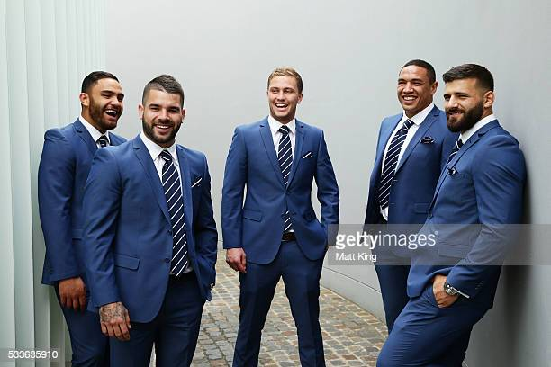 NSW Blues debutants Dylan Walker Adam Reynolds Matt Moylan Tyson Frizell and Josh Mansour pose during the NSW Blues State of Origin team announcement...