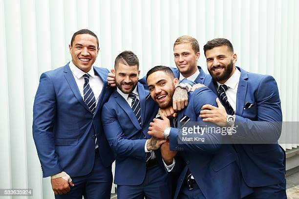 NSW Blues debutants Tyson Frizell Adam Reynolds Dylan Walker Matt Moylan and Josh Mansour pose during the NSW Blues State of Origin team announcement...